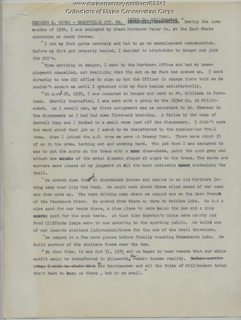 Kenneth E. Young Letter on CCC, Greenville Junction, ca. 1990