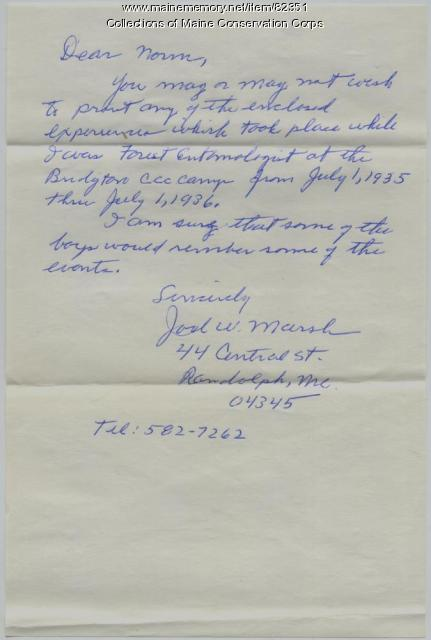 Joel W. Marsh Letter on the CCC, Randolph, 1988