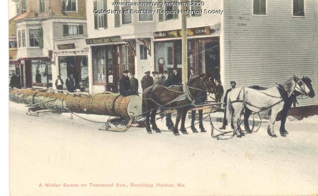 Winter scene in Boothbay Harbor, ca. 1920