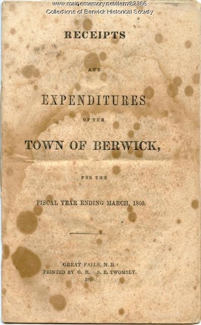 Town report, Berwick, 1860