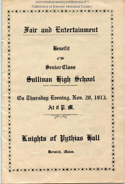 Sullivan High School Benefit program, 1913