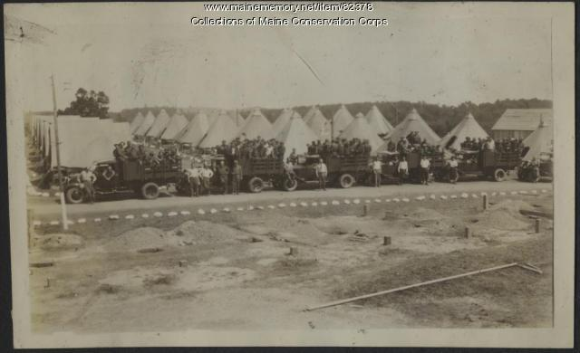 Veterans Conservation Corps Jefferson Camp Crews with Trucks, ca. 1934