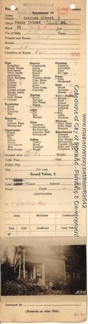 Ventres property, S. Side Prince Avenue, Peaks Island, Portland, 1924