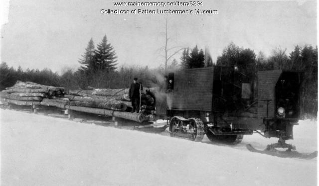 Merrill Mill Co.'s Lombard Loghauler with Loaded Sleds and Crew