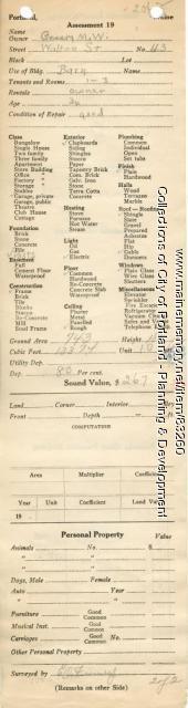 Assessor's Record, 43 Walton Street, Portland, 1924