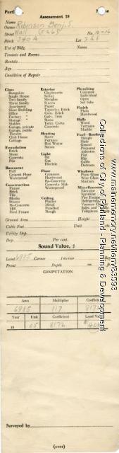 Assessor's Record, 10-16 Wall Street, Portland, 1924