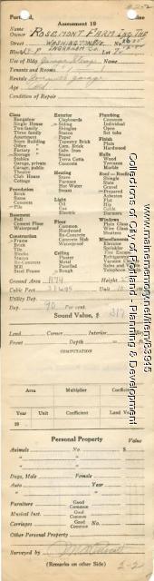 Assessor's Record, 26-30 Washington Avenue, Portland, 1924