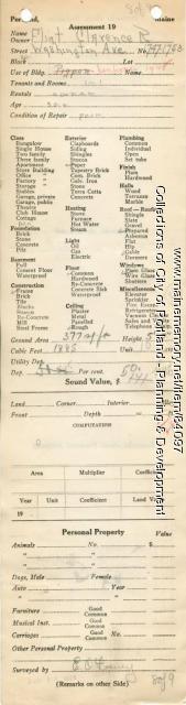 Assessor's Record, 1747-1753 Washington Avenue, Portland, 1924