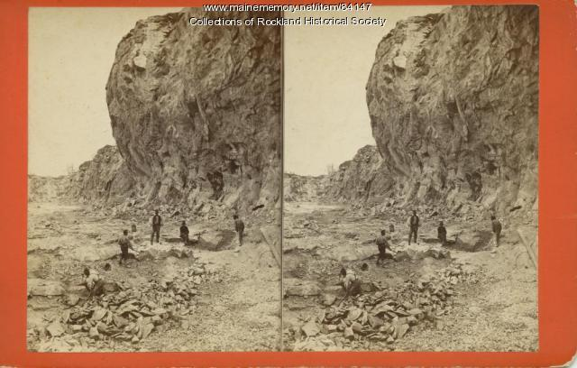 Digging Limestone in Engine Quarry, Rockland, ca. 1875