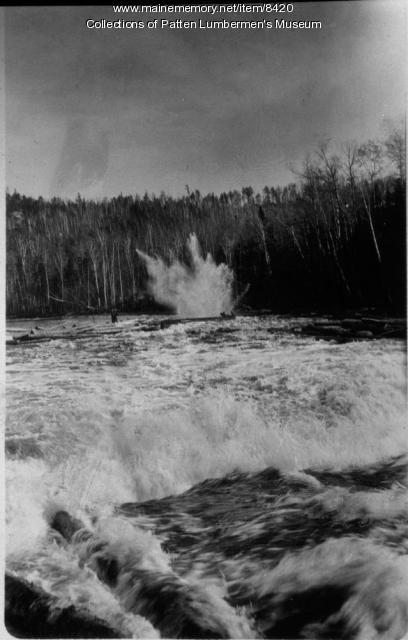 Dynamiting a jam, Maine woods