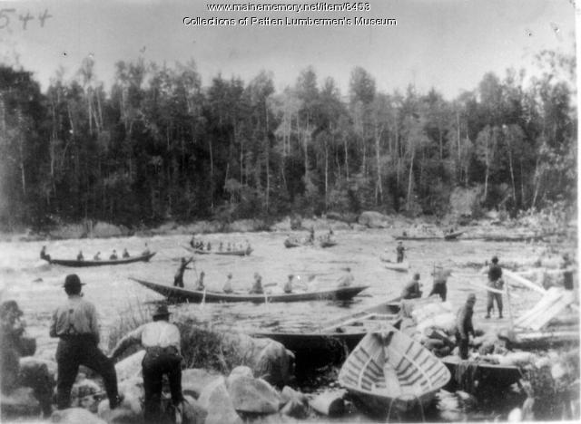 Log driving boats, Penobscot River, ca. 1900