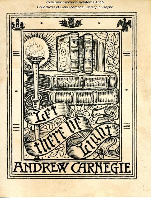Andrew Carnegie bookplate, ca. 1915