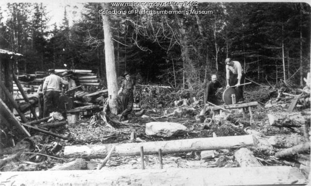 Grinding axes, Maine woods