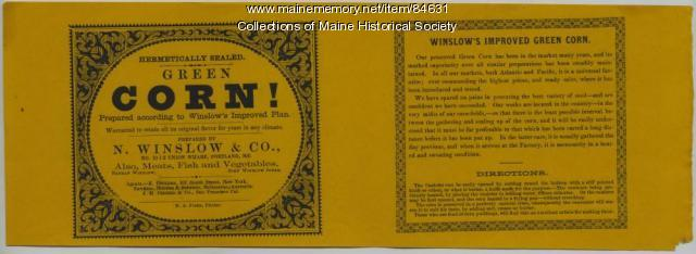 N. Winslow & Co. corn label, Portland, ca. 1870