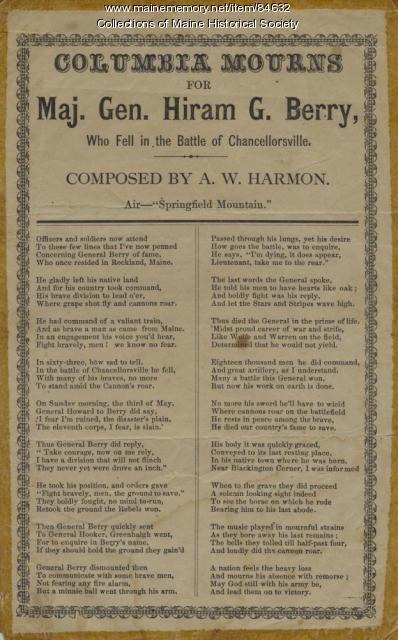 Hiram Berry memorial poem, ca. 1863