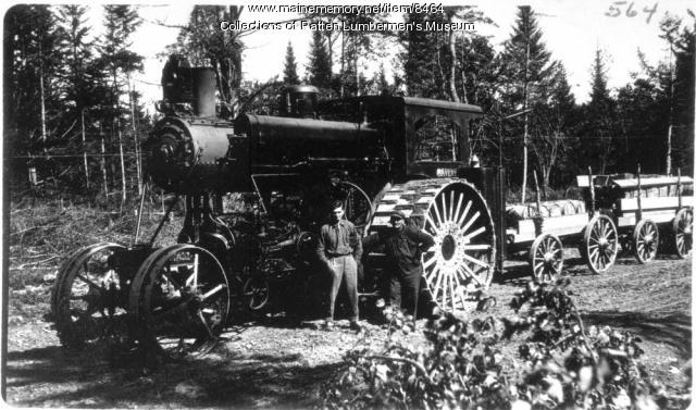 Toting with Avery hauler, Maine woods