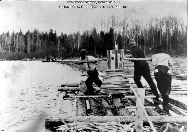 Headworks raft in operation, Maine woods