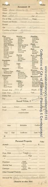 Assessor's Record, 133-139 Wilmot Street, Portland, 1924