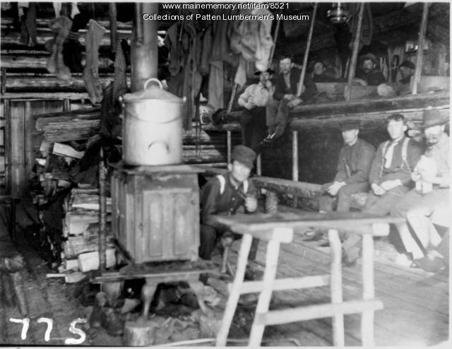 Crew at logging camp, Maine woods