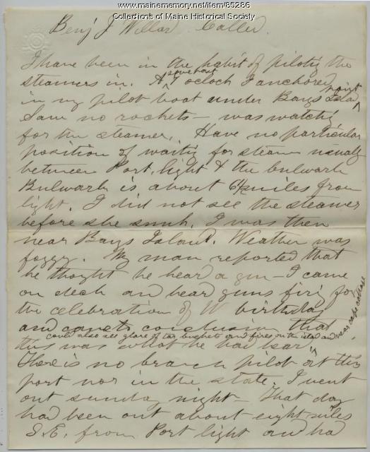'Bohemian' wreck deposition of pilot, Portland, 1864