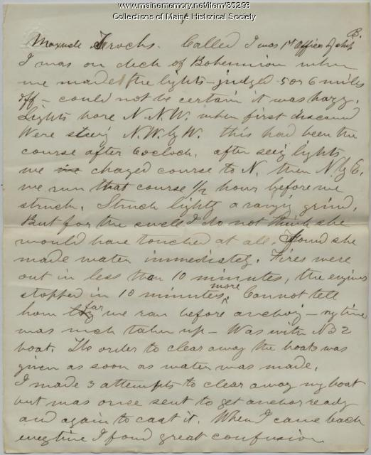First Officer Trochs deposition on 'Bohemian' wreck, Portland, 1864