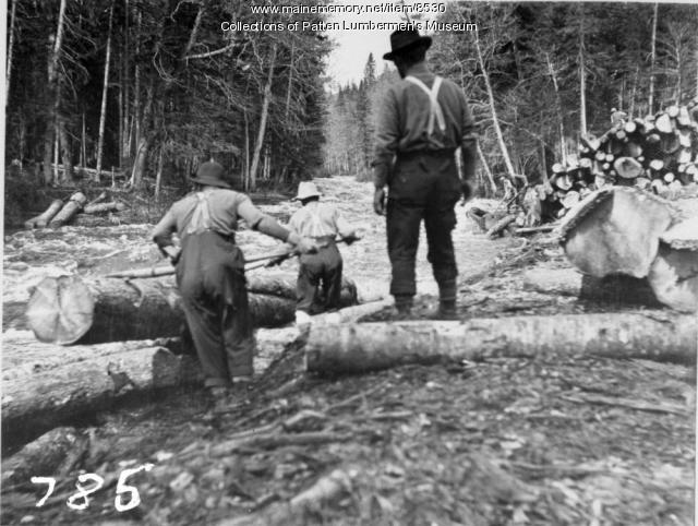 Crew rolling logs into stream