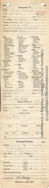 Assessor's Record, 588-596 Westbrook Street, Portland, 1924