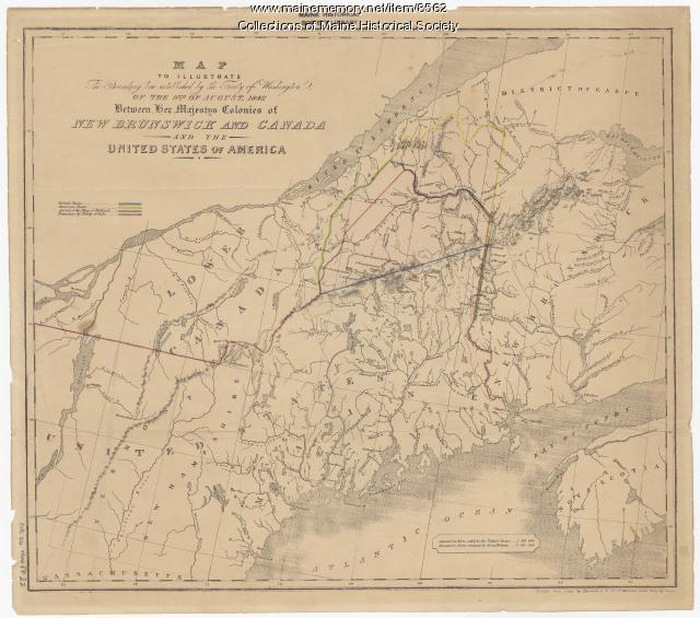 Washington Map Society.Treaty Of Washington Boundary Map 1842 Maine Memory Network