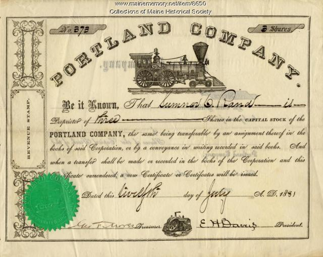 Portland Company stock certificate, July 1881