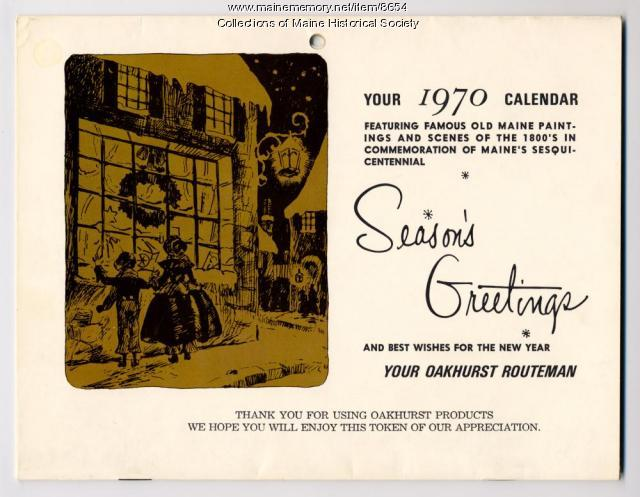 Oakhurst Dairy gift calendar, 1970