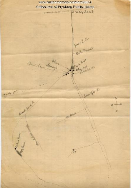 Map of Buck Peters locations, Fryeburg, ca. 1912