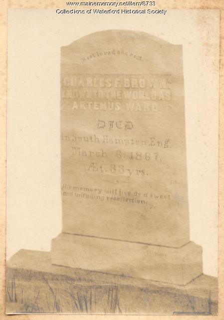 Gravestone of Charles F. Brown, Waterford, ca. 1900