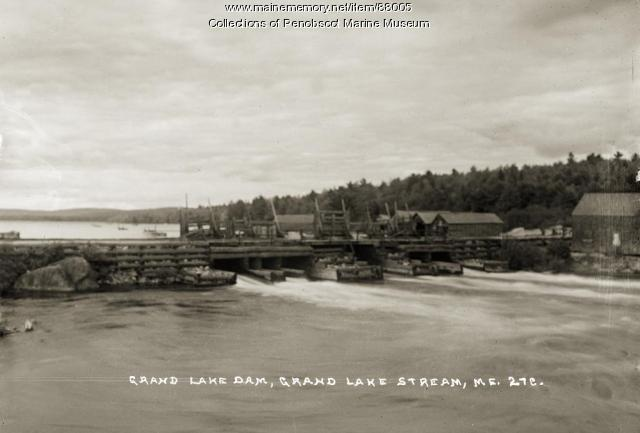 Dam, Grand Lake Stream, ca. 1920
