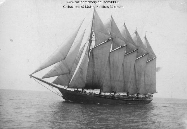 Five-mast steel schooner KINEO under sail