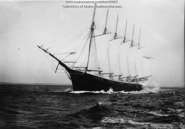 Six-mast schooner WYOMING, off mouth of Kennebec River, 1909