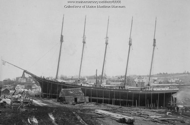 Preparing 'Gov. Ames' for launching,  Leavitt Storer shipyard, Waldoboro, 1888