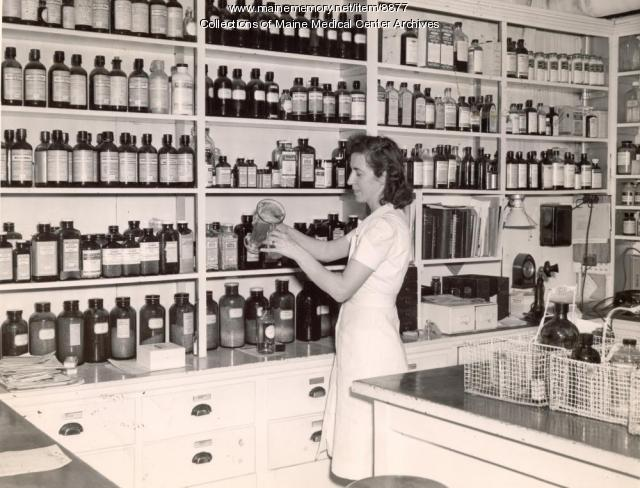 Maine General Hospital pharmacy, Portland, ca. 1945