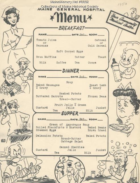 Patient menu, Portland, 1950