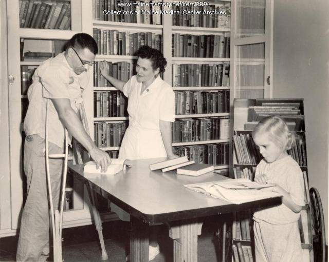 Maine General Hospital patient library, Portland, 1955