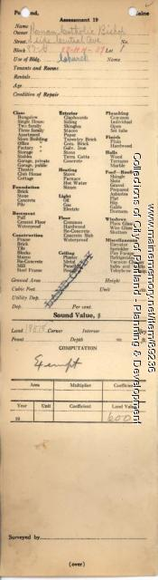 Assessor's Record, Catholic Church property, S. Side Central Avenue, Peaks Island, Portland, 1924