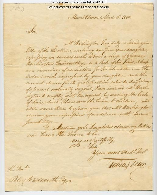Letter to Peleg Wadsworth with Washington hair, 1800