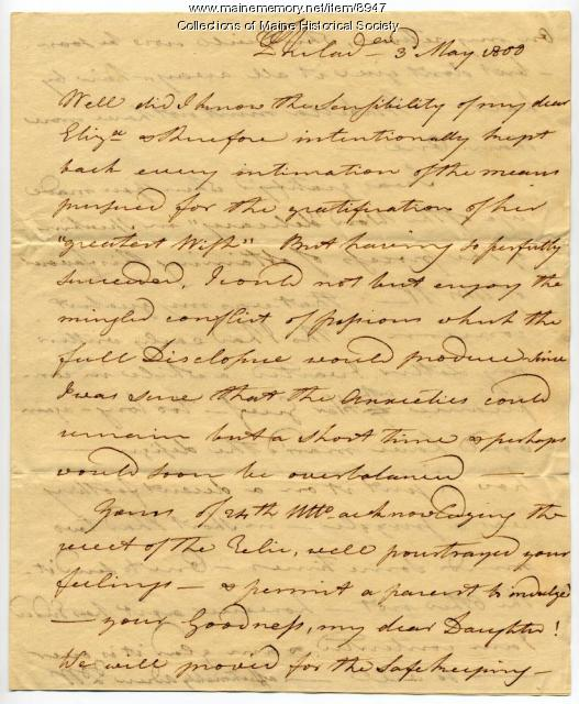 Letter from Peleg Wadsworth to Elizabeth Wadsworth