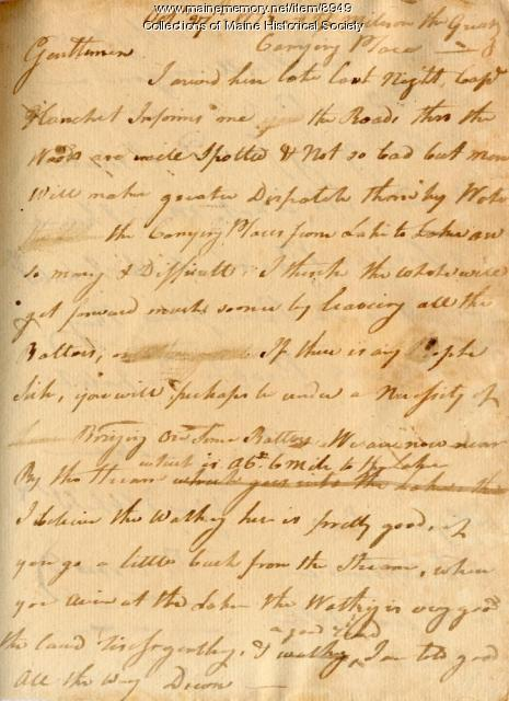 Benedict Arnold letter, Oct. 27, 1775