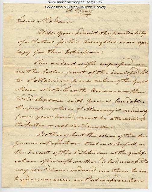 Copy of Peleg Wadsworth letter to Martha Washington, 1800