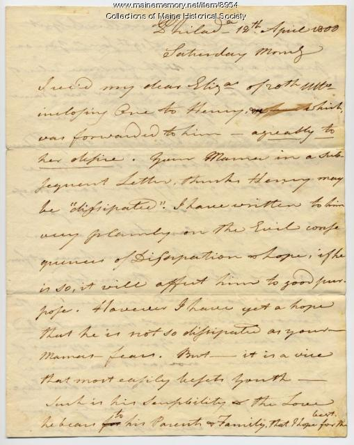 Peleg Wadsworth writes to his daughter, Elizabeth, Philadelphia, 1800