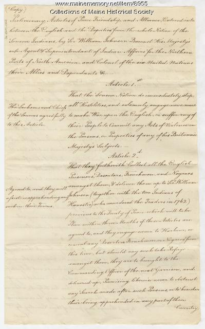 Copy of a Seneca Indian treaty with the British, 1764