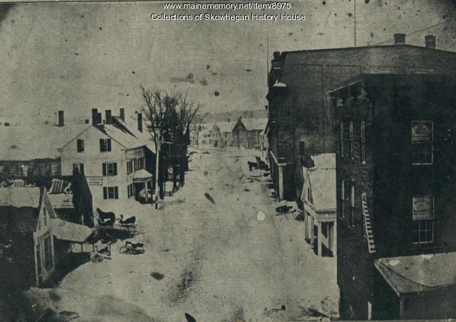 Looking east on Russell Street, Skowhegan, ca. 1900