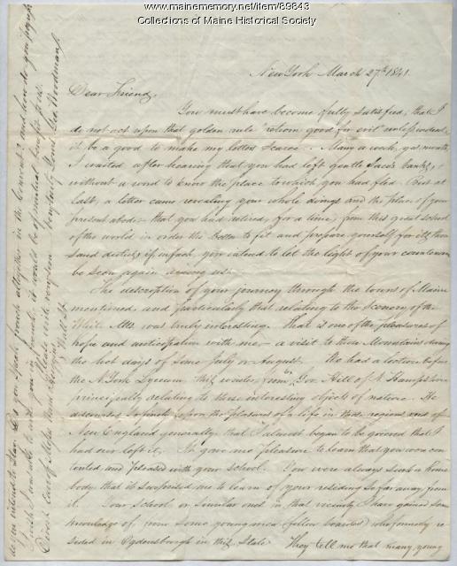 George Woodman to Rebecca Usher, Canada, 1841