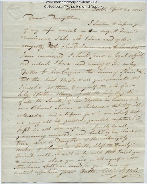 Ellis B. Usher to daughter Rebecca, Quebec, 1841