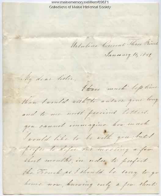 Rebecca Usher to sister, Quebec, 1841